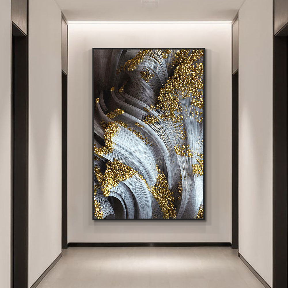 Abstract 3D Gold Painting Modern Hand Painted Oil Painting On Canvas fashion Wall Art Unframed Art For Living Room Home Decor