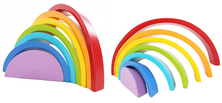 Wooden block rainbow kids children building blocks wooden toys baby early learning montessori educational(BUY 2 FREE SHIPPING)