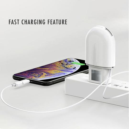 SKRTEN Retractable Phone Charger Man 3 in 1 USB Cable for Type-C/Micro USB/Lightning