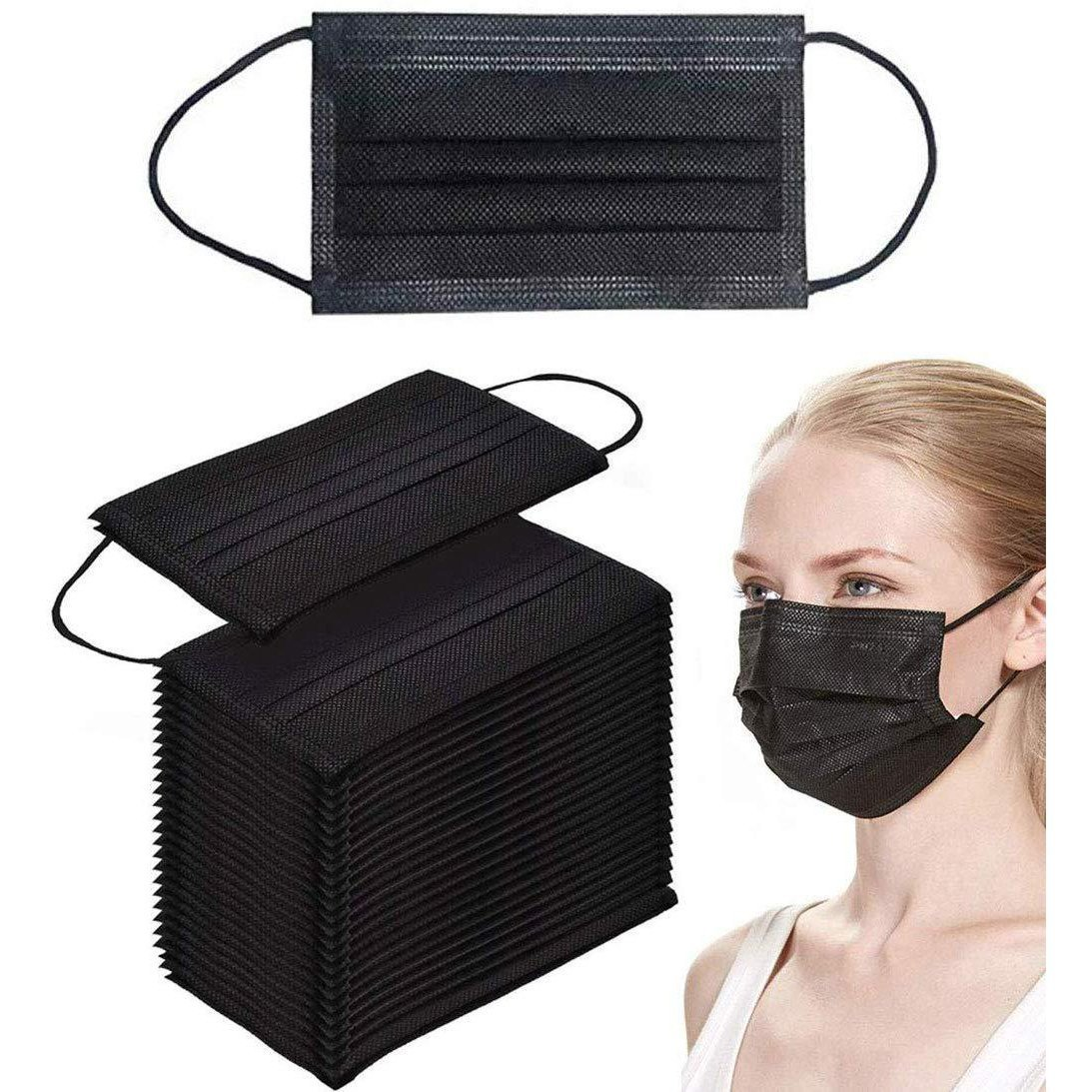 Disposable Face Masks 50 Pack Breathable Dust Filter Masks Black Mouth Cover Masks with Elastic Ear Loop