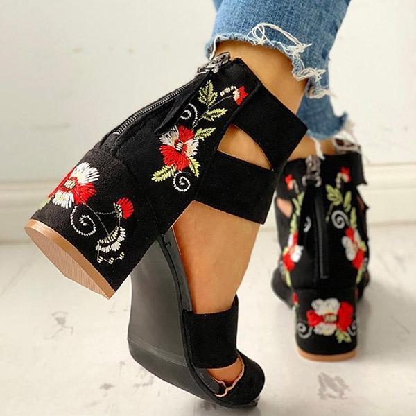 Faddishshoes Floral Embroidered Zipper Chunky Heeled Sandals