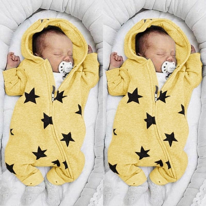 2019 New Baby Fashion Toddler Infant Baby Boy Girl Pure Color Long Sleeve Zipper Hooded Star Print Cotton Romper Jumpsuit Bodysuit Clothes 0-3 Years Old 6 Color Cute Funny Casual Infant Clothing Winter Autumn Spring Warm Rompers