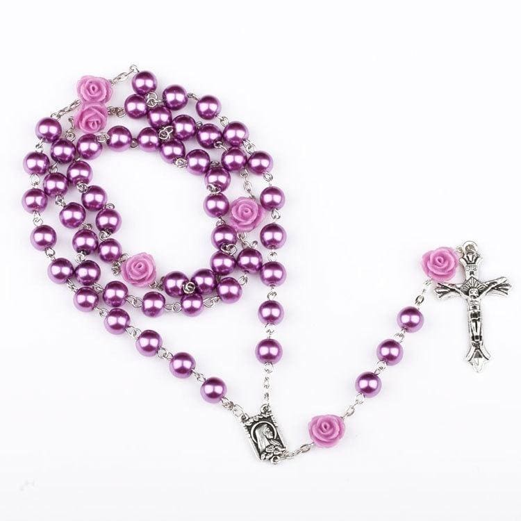 Women'S Catholic Rosary Bead Necklace Red Rose Pearl Cross Virgin Mary Chain Necklace For Prayer Religious Necklace Gifts