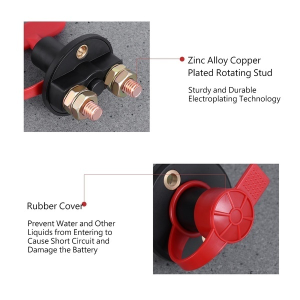 12V/24V Universal Automobile Car Truck Boat Battery Isolator Disconnect Cut Off Power Kill Switch Waterproof Switch EN