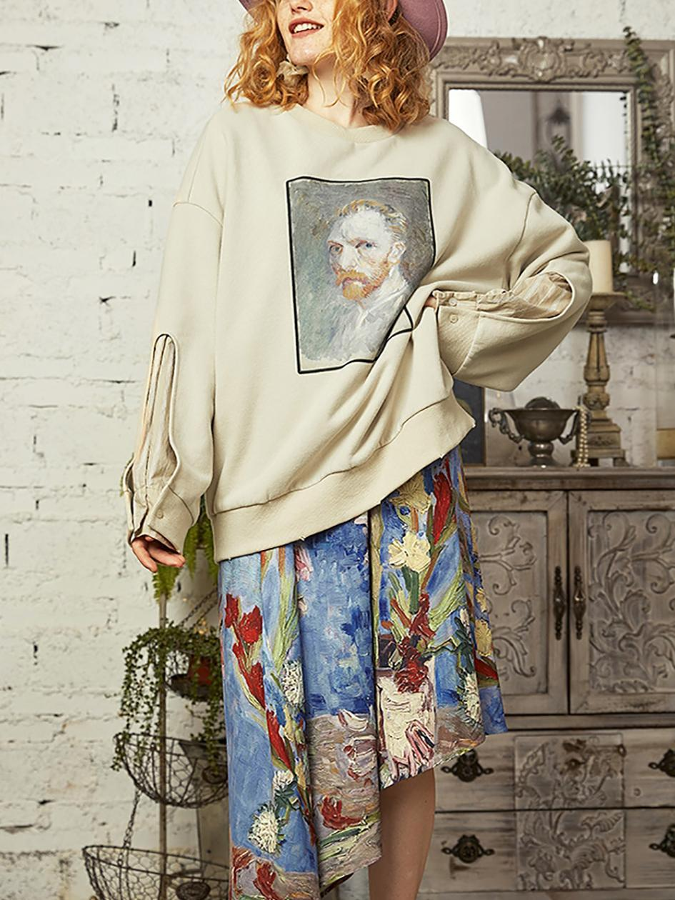 Cotton Polyester Long Sleeve Round Neck Printed Plain Sweatshirt