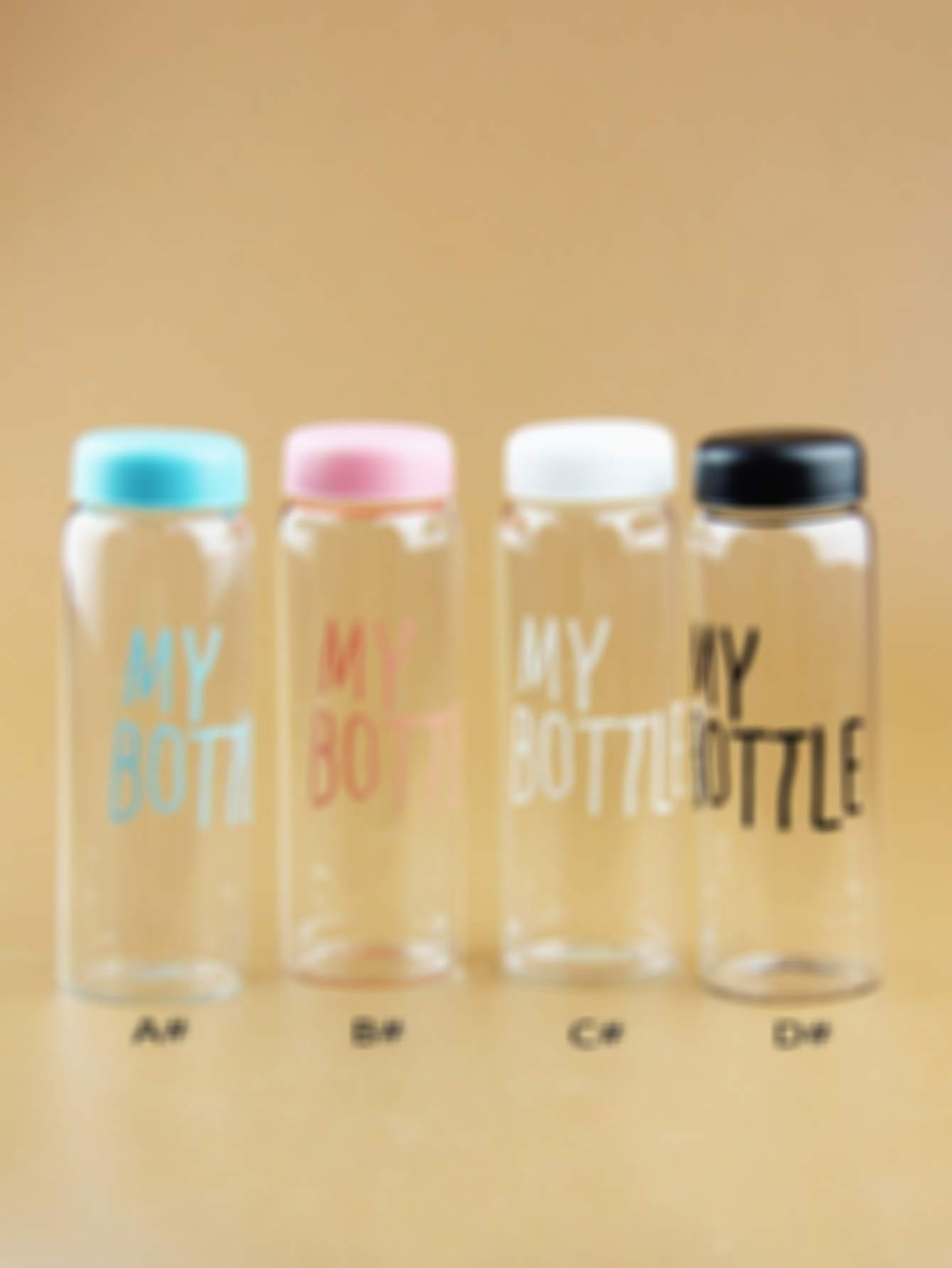 Slogan Print Water Bottle With Bottle Cover 1pc