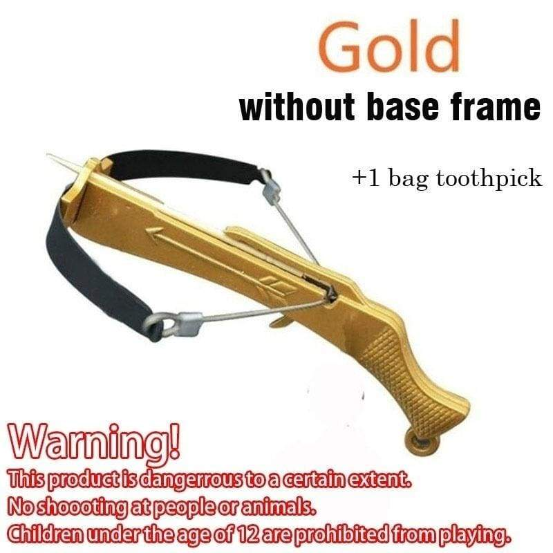 Toothpick Crossbow Mini Crossbow Chopsticks Bow Cross Arrow Bow Stainless Steel Metal Ornaments Outdoor Hunting Toy Decompression Toys