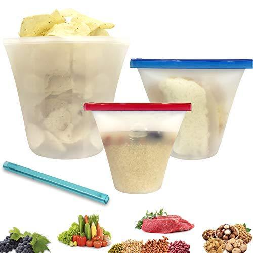 FERRISA Dual Purpose Reusable Silicone Storage Food Bag Cup for Lunch&Travel, Zi