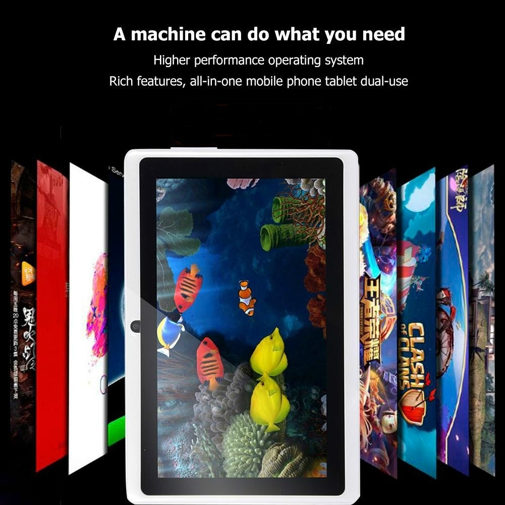7 Inch Android Tablet 1GB Ram + 4/8/16GB Rom IPS Screen Dual Camera Bluetooth Kids Tablet PC