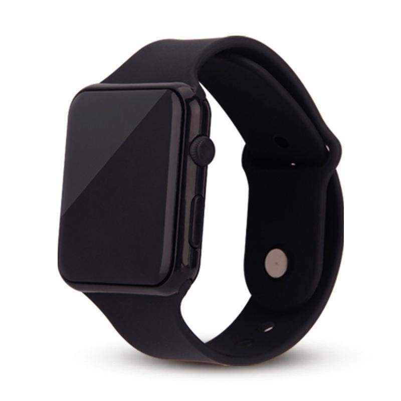 New Square Mirror Face Silicone Band Digital Watch Red LED Watches Metal Frame WristWatch Sport Clock