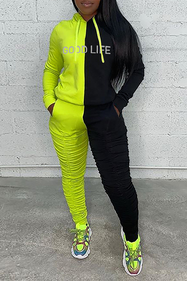 Color Block Hooded Two-piece Set