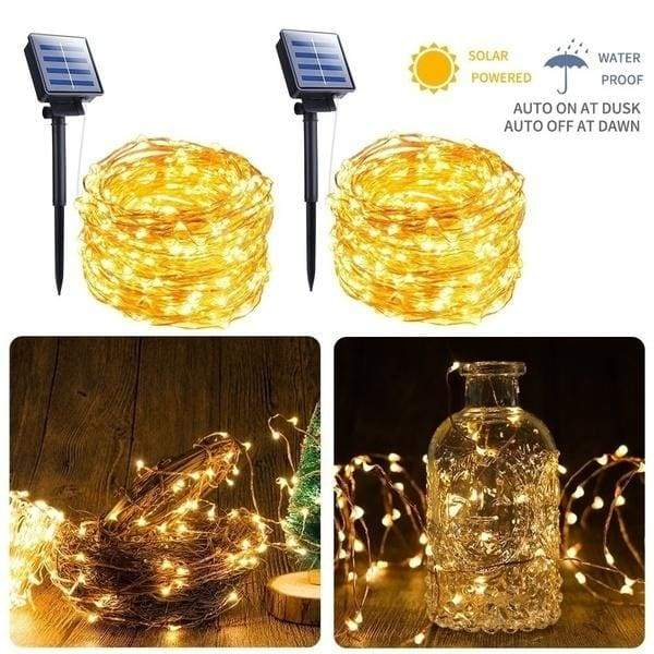 Solar String Lights and USB LED String Lights Solar Powered Copper Wire Fairy Lights IP65 Waterproof Indoor Outdoor Lighting for Home, Garden, Party, Path, Lawn, Wedding, Christmas, DIY Decoration