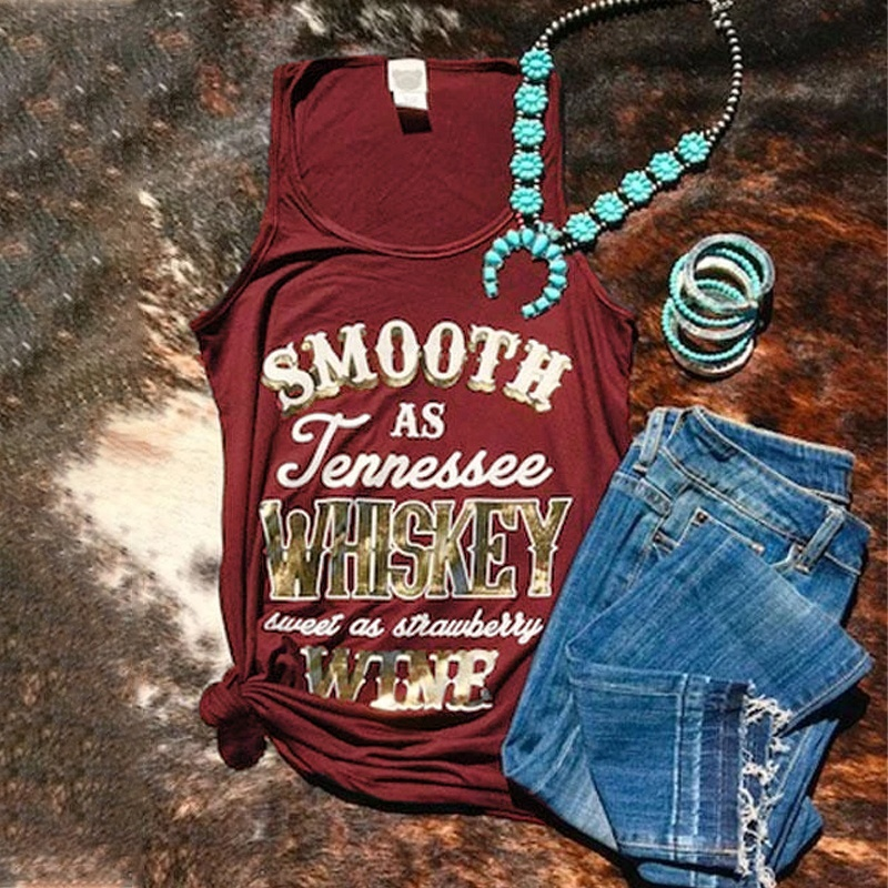 Women's Country Music Tanks Smooth As Tennessee Whiskey Sweet As Strawbarry Wine Tank Tops Country Thunder Country Concert Tanks