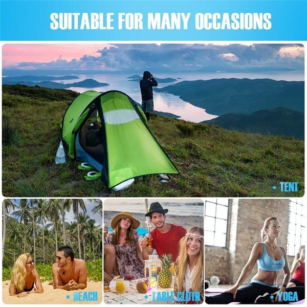 Sand Free Beach Mat, Quick Drying Ripstop Nylon Lightweight Compact Portable Outdoor Picnic Beach Blanket Best Sand Proof Picnic Mat for Travel, Camping, Hiking and Music Festivals