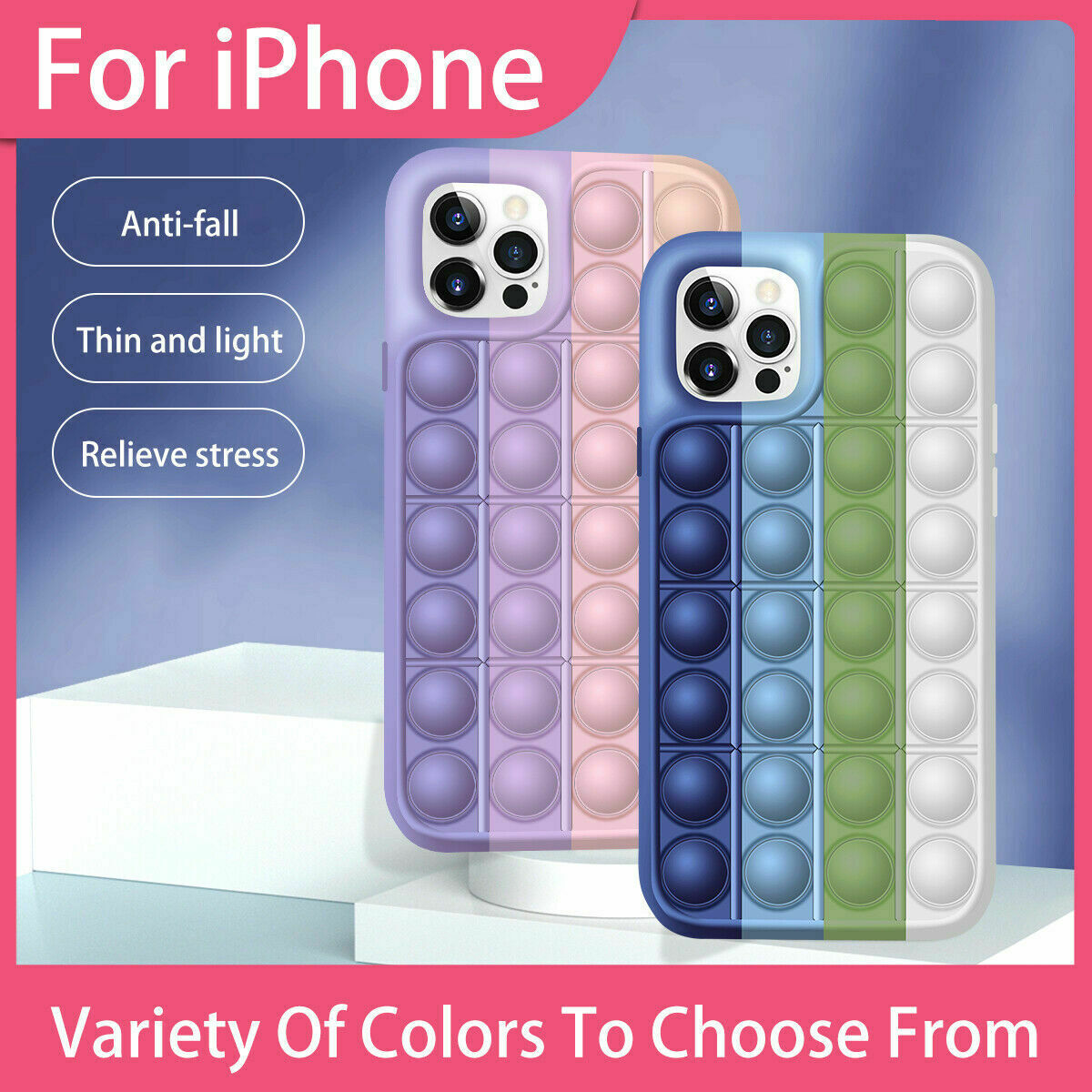 Stress Reliver Silicone Case Cover For iPhone 12 Pro Max Mini 11 XR XS 7 8 Plus