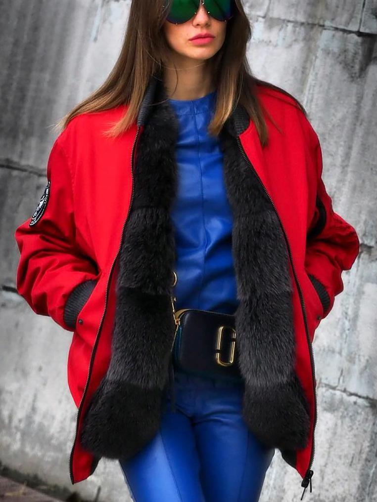 Fashion warm red and black faux fur bomber jacket