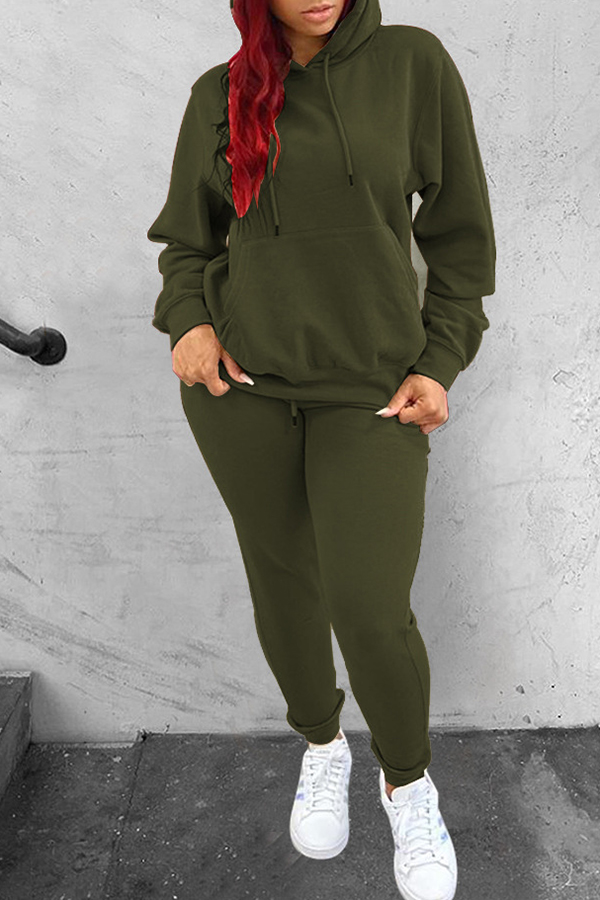 Solid Color Hooded Drawstring Sweatsuit