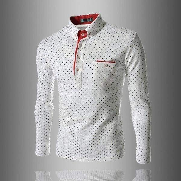 NEW ARRIVALS MODERN GENTLEMAN England Fashion Wave Point Men's Slim Fit Long Sleeved Tide Rugby Polo Shirt