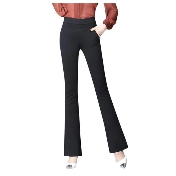 New Fashion Women High Stretch Pocket Shaping Dress Pants Yoga Pants Office Casual Trousers Flare Pants ( Plus Size: S-4XL)