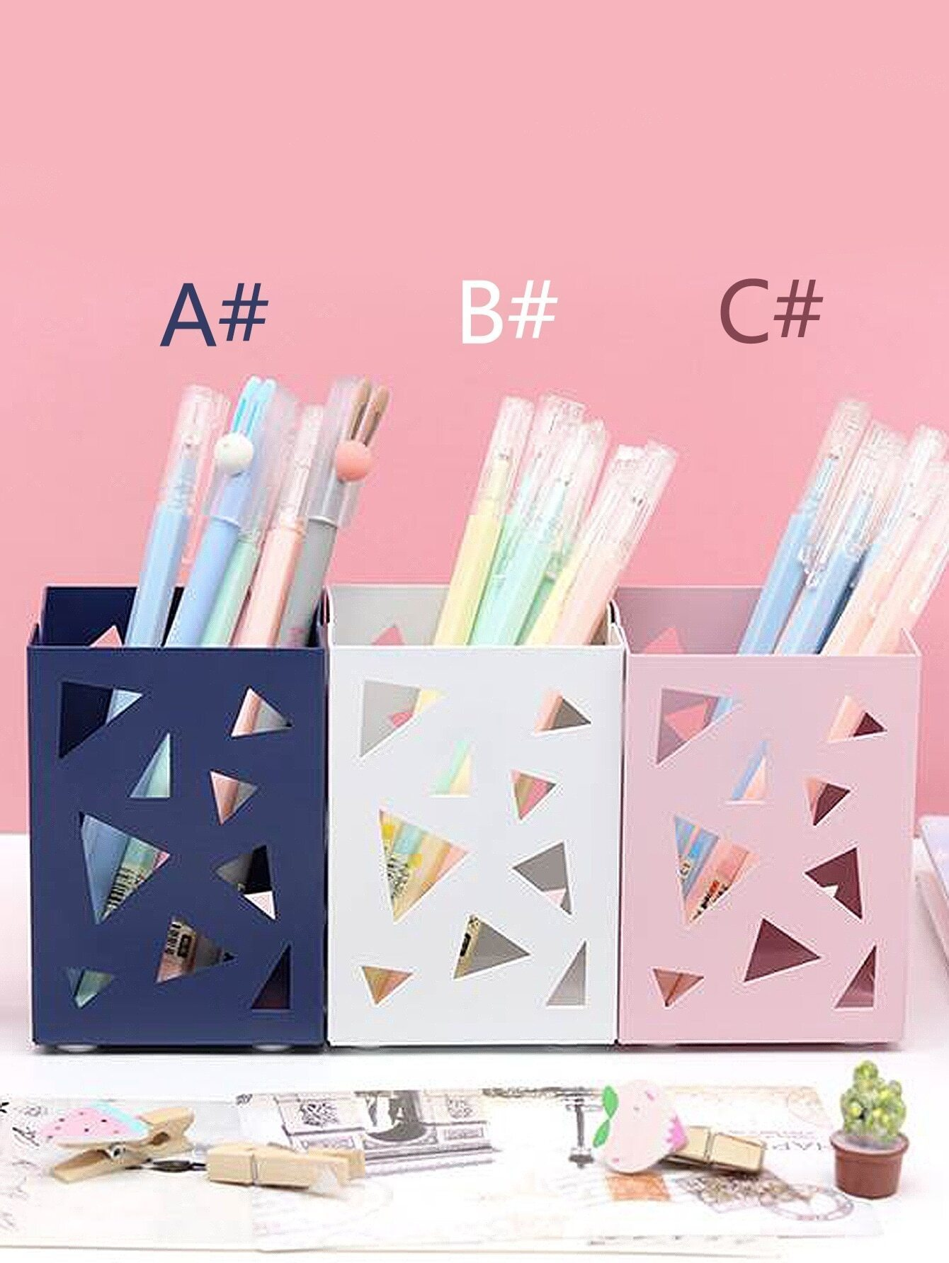 Triangle Hollow Metal Pencil Holder 1pc