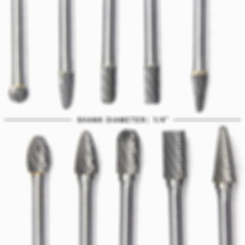 Carbide Burrs Set Double Cut 1/4 Inch Shank Diameter Solid Tungsten Carbide Rotary File Burs Kit,10pcs