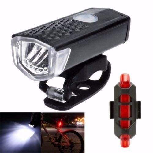 Pratical USB Rechargeable MTB Bike Bicycle LED Head Front Light & Rear Tail Lamp