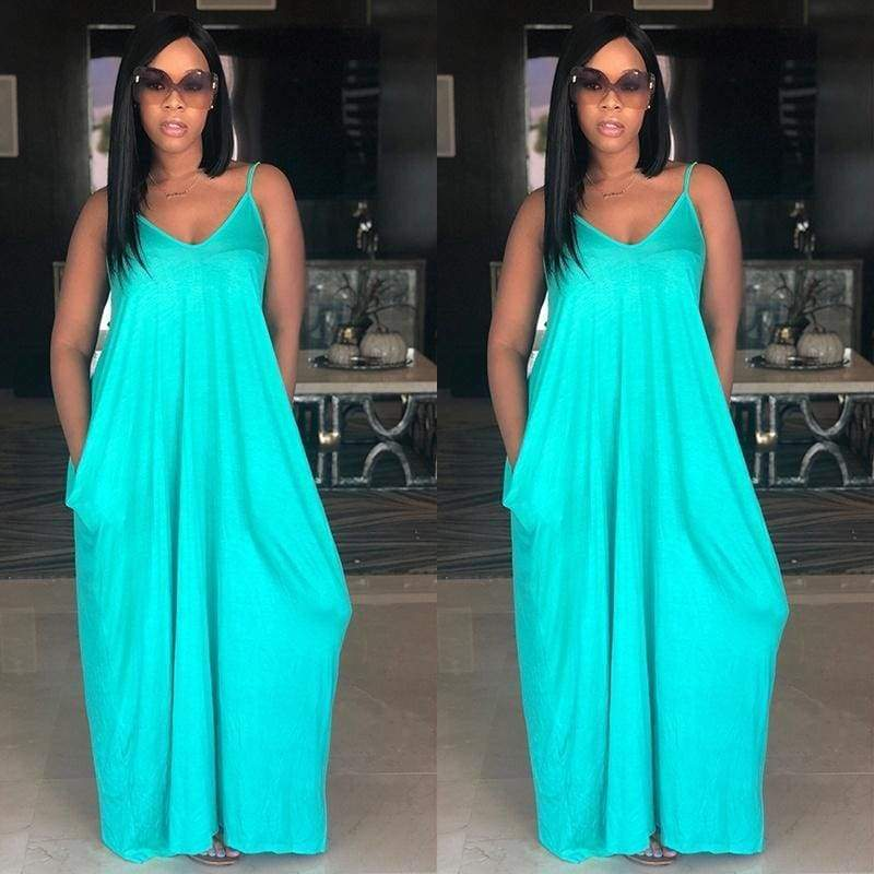 2018 Women Fashion Summer Sleeveless Maxi Halter Dresses Solid Color Halter Maxi Dress with Halter Tie and Pockets