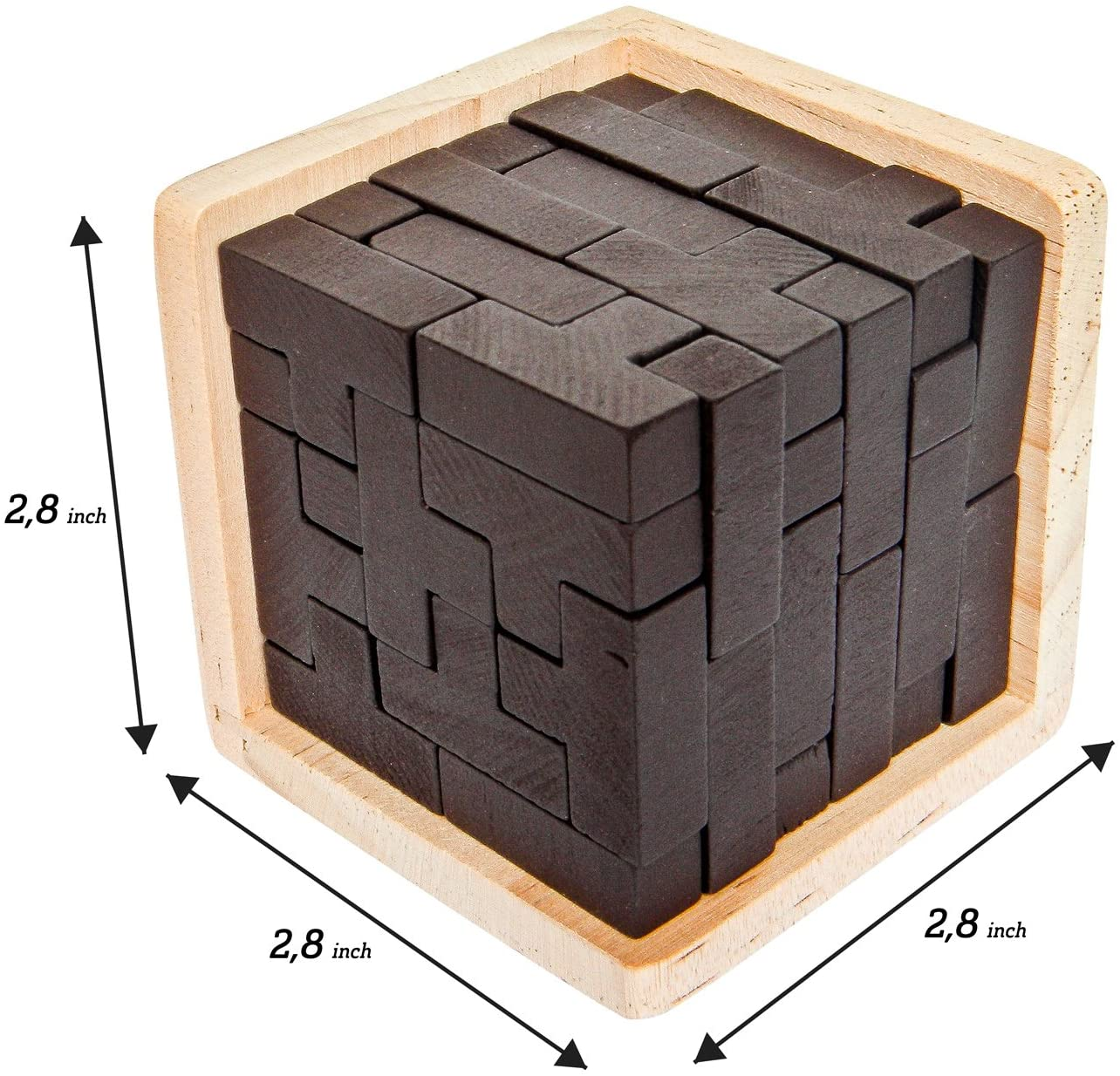 Original 3D Wooden Brain Teaser Puzzle.Educational Toy for Kids and Adults. Gift Desk Puzzles