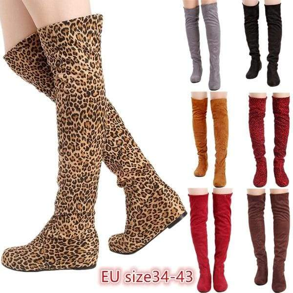 Black Leopard Women Boots Ladies Fashion Flat Bottom Boots Shoes Over The Knee High Leg Suede Long Boots