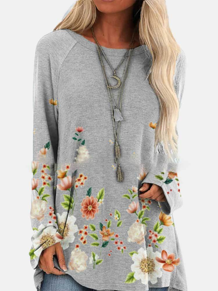 Round Neck Long Sleeve Floral Print Mid-length T-shirt