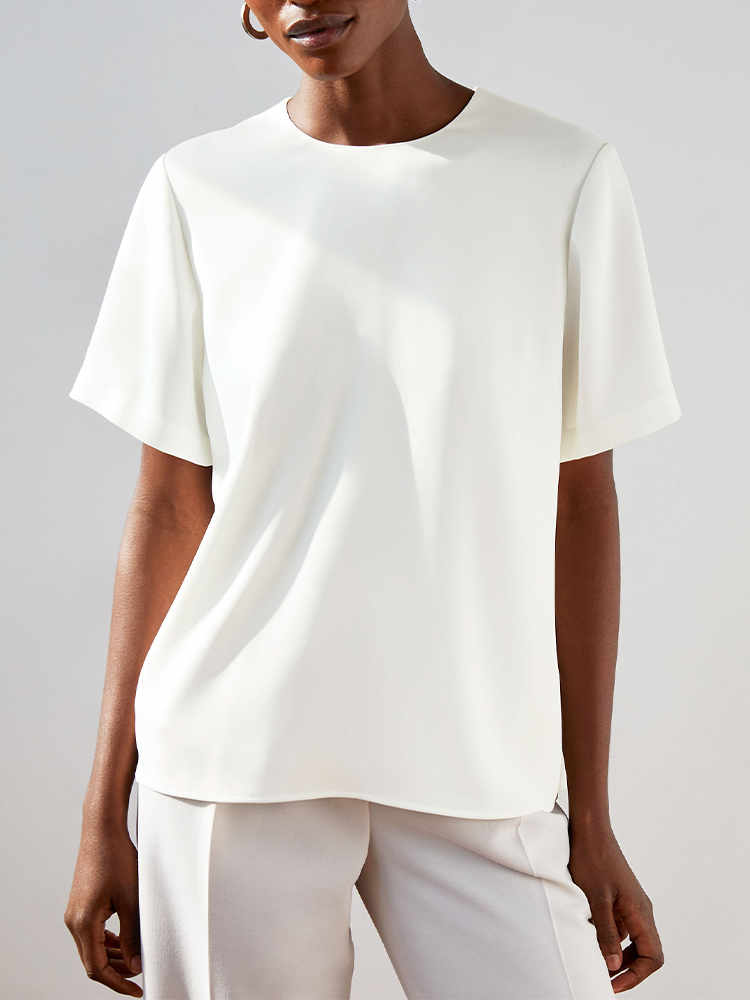 Solid Color Hollow-out Top