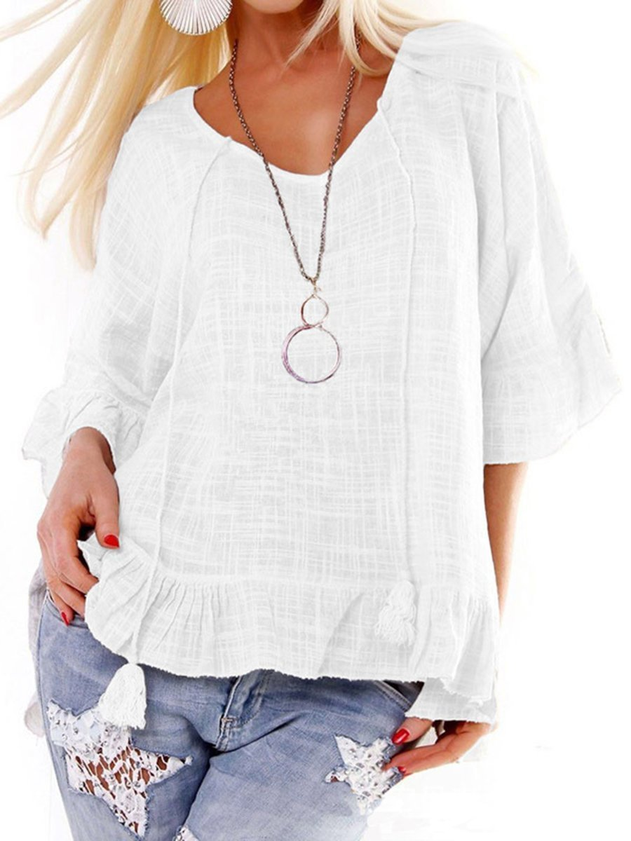 Women Half Sleeve Casual Solid Shirts & Tops