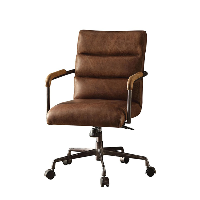 Buyonhome Office Chair in Retro Brown Top Grain Leather