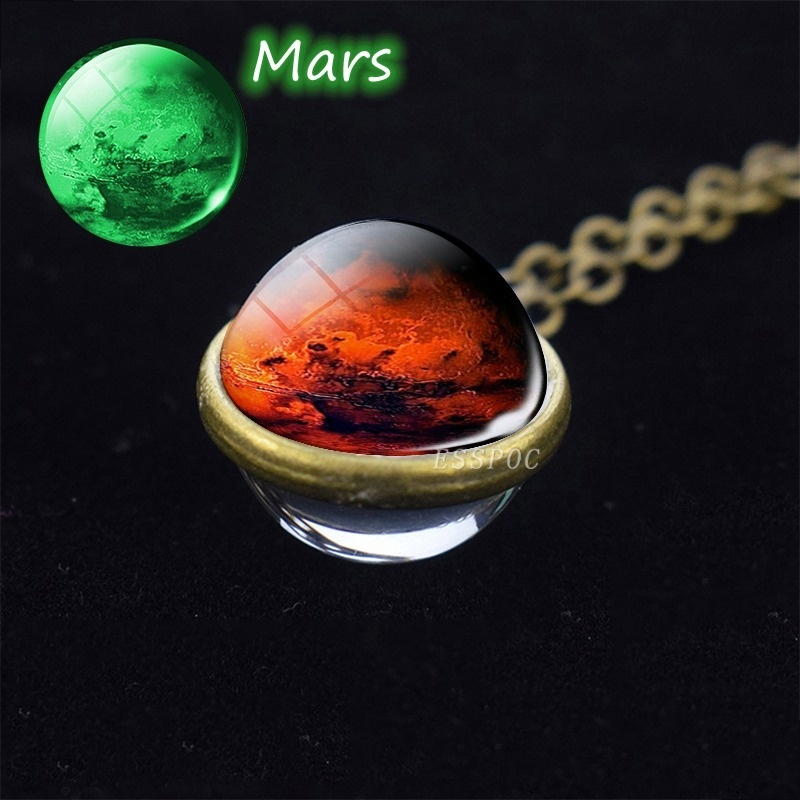 Glow In The Dark Solar System Necklace Moon Earth Mars Venus Jupiter Necklace Double Side Glass Ball Pendant Luminous Necklace Jewelry