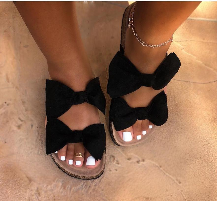 Women Slides 2 Straps Comfy Bow Slide Sandals