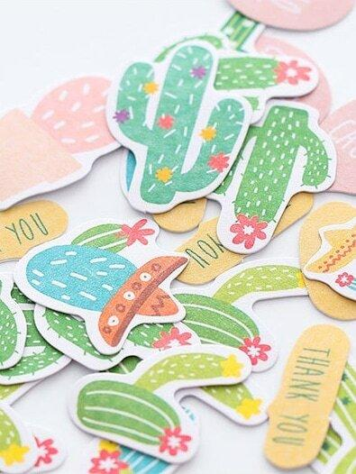 Cactus Shaped Decal 72pcs