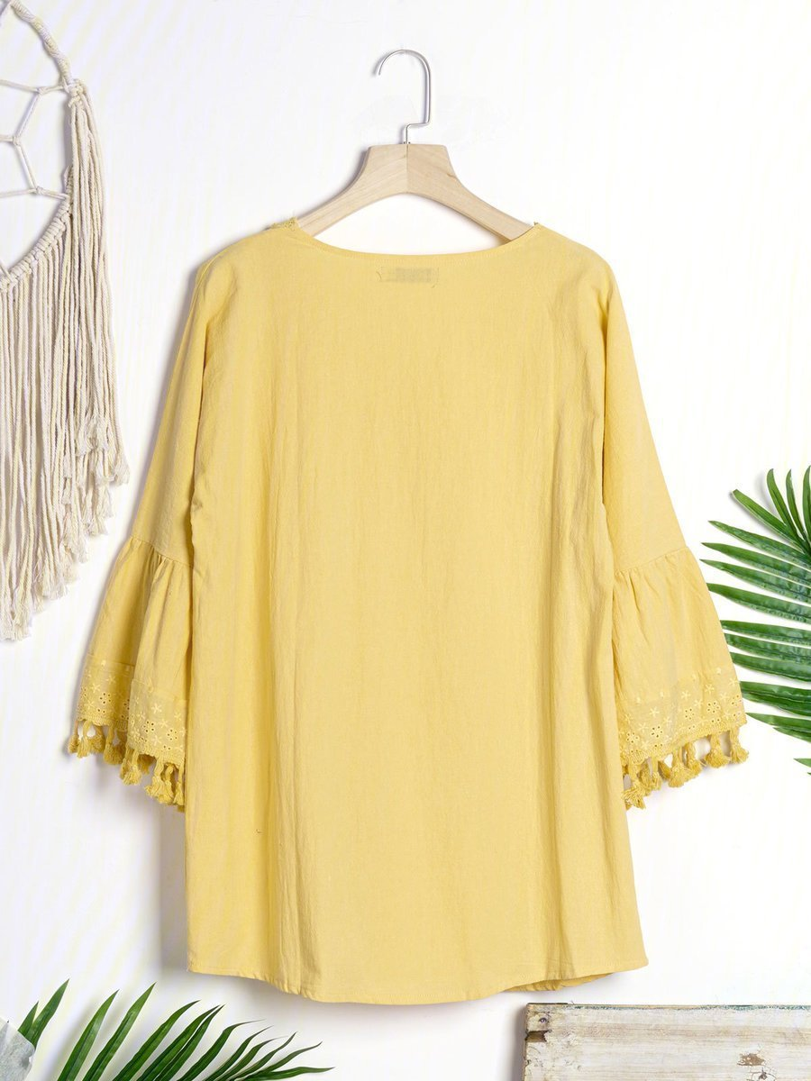 Cutout Bell Sleeve Casual Dresses