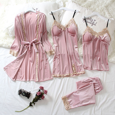 Autumn and winter sexy golden velvet mid-length nightgown with chest pad S pajamas four-piece set