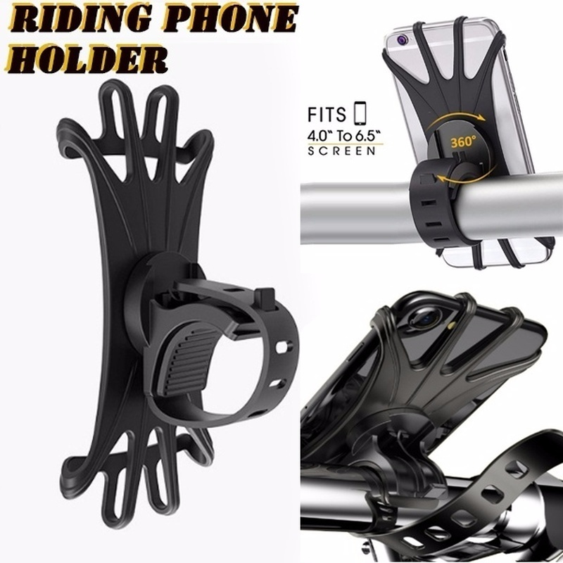 Bike Phone Mount 360 Degree Rotation Silicone Bicycle Phone Holder Universal Motorcycle Handlebar Mount Fits for IPhone X 8/8 Plus 7 6/6s Plus Samsung Galaxy S9/S9 Plus S10 S10 Lite  1 pc