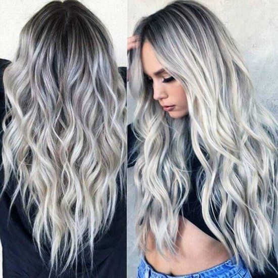 2020 New Gray Hair Wigs For African American Women Purple Ombre Wig Gray Hair Removal Junko Wig Red Hair Going Gray Theatrical Wigs