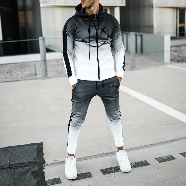 Mens Black And White Gradient Casual Sports Jacket Jogging