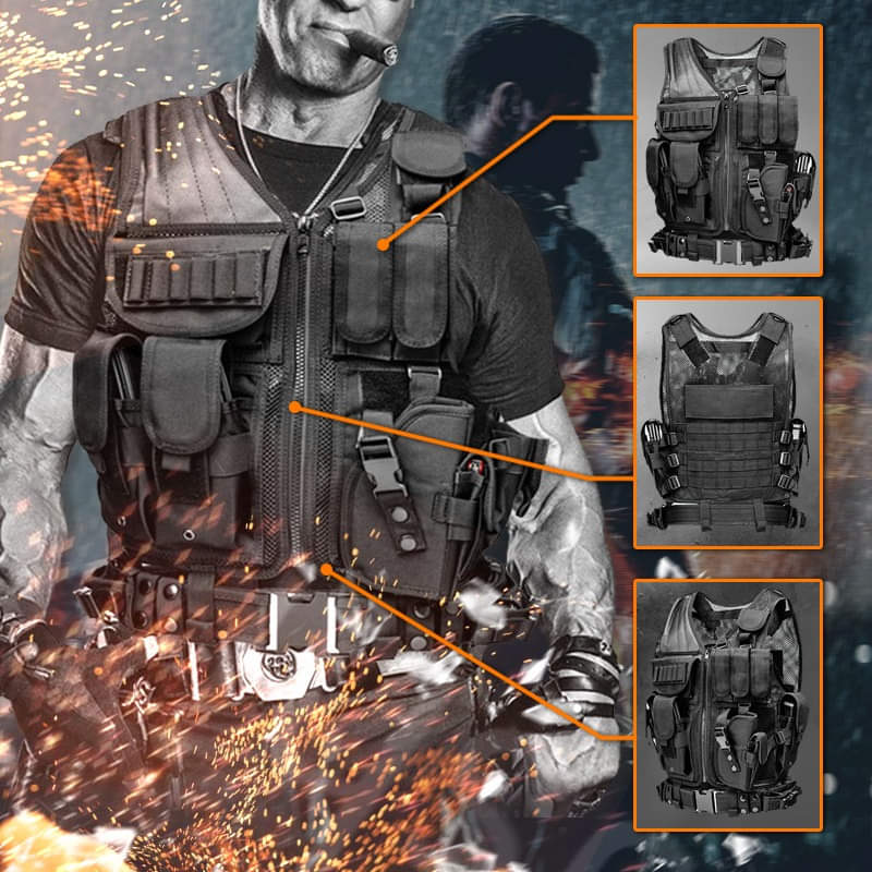 2020 Tactical Vest Multi-pocket SWAT Army CS Hunting Vest Camping Hiking Accessories Detachable