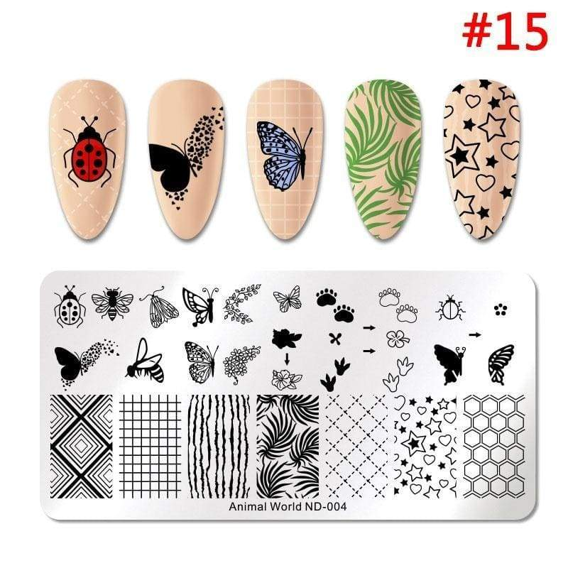 NICOLE DIARY Stamping Nail Plate Butterfly Animal Plant Nail Art Image Plate Nail Stamping Tool