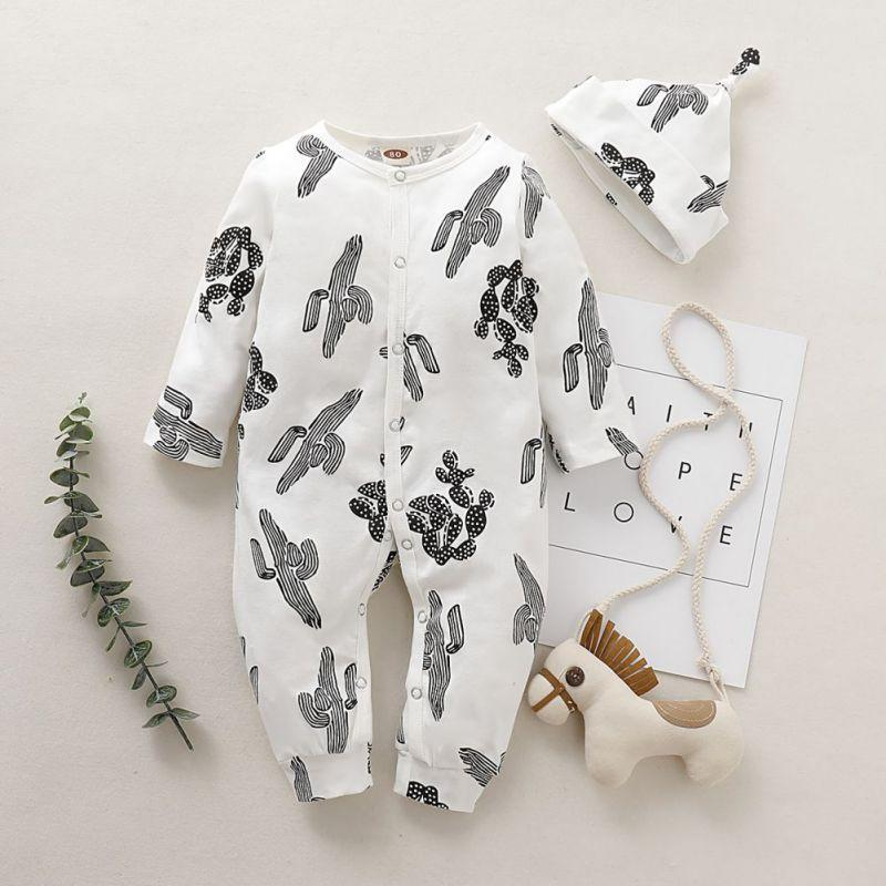 Baby Cactus Print Long Sleeves Rompers with Hat