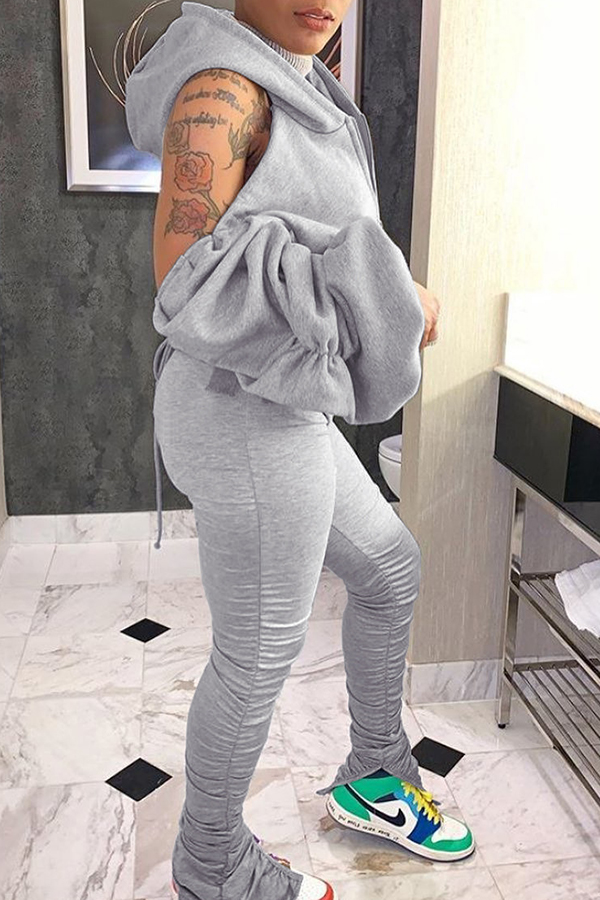 Puff Sleeve Hooded Two-piece Set