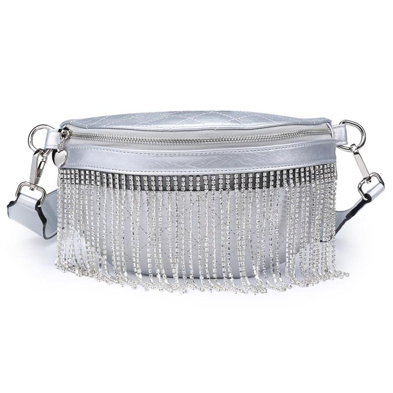 New Style Rhinestone Diamond Tassels Casual Leather Fashion Mini Waist Bag Leather Women Belt Bags-1.9