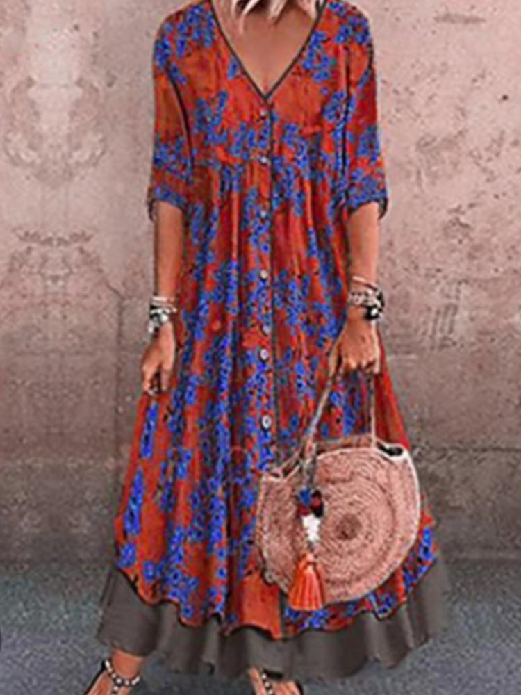 Double Plus-size Dress with Seven-quarter Sleeves in Vintage Print