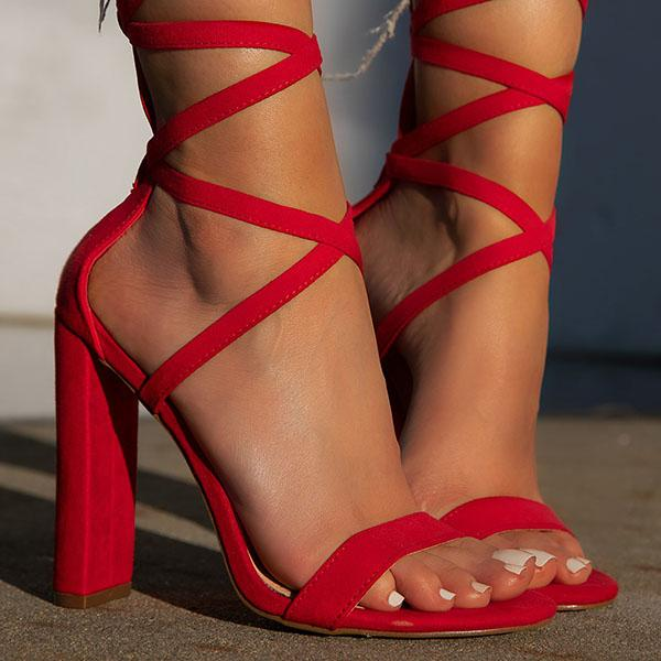 zoeyootd Sexy Lace-Up Closure High Heels