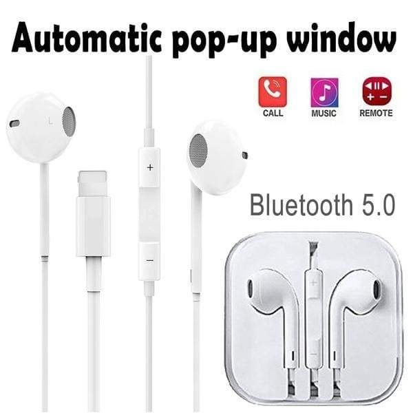 Upgraded earbuds with automatic pop-up window wired Bluetooth 5.0 headset for Apple iPhone X XR XS Max 8 7 Plus headset with microphone headset