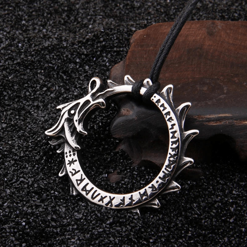 Stainless Steel Jormungand Serpent and Rune Necklace